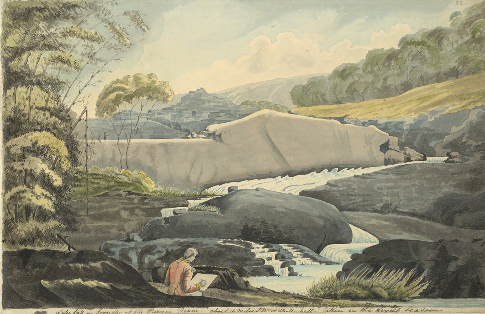 f.32 Waterfall near Haliyal with Johnson sketching in the foreground.